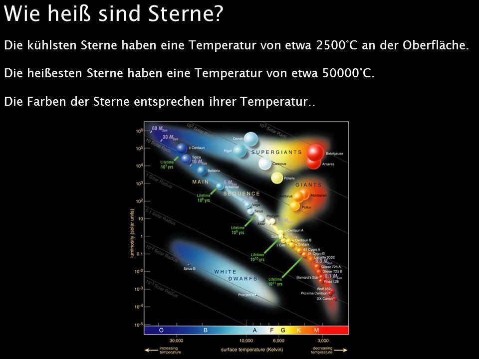 Wie heiß sind Sterne Die kühlsten Sterne haben eine Temperatur von etwa 2500°C an der Oberfläche.