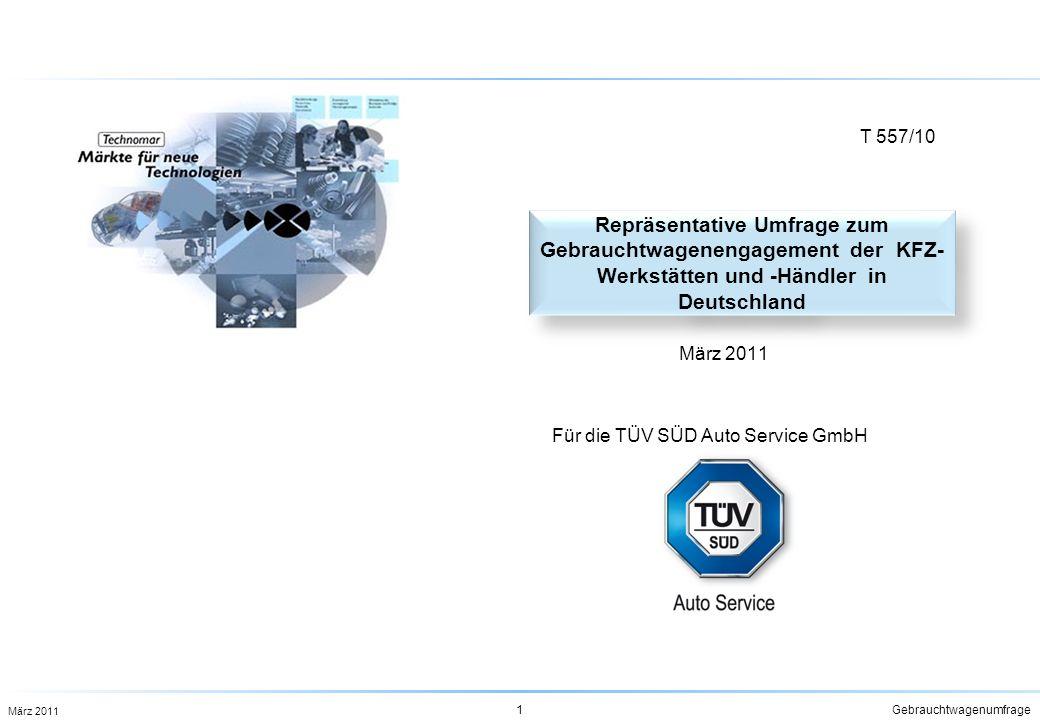 T 557/10 Repräsentative Umfrage zum Gebrauchtwagenengagement der KFZ-Werkstätten und -Händler in Deutschland.