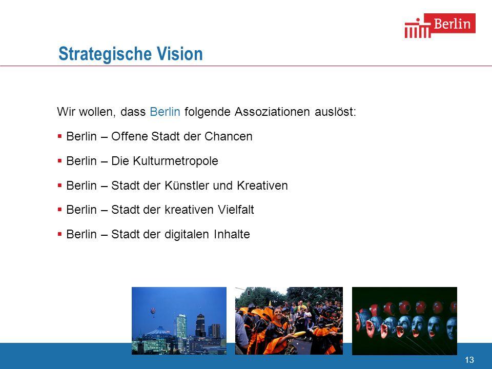 Strategische Vision Wir wollen, dass Berlin folgende Assoziationen auslöst: Berlin – Offene Stadt der Chancen.