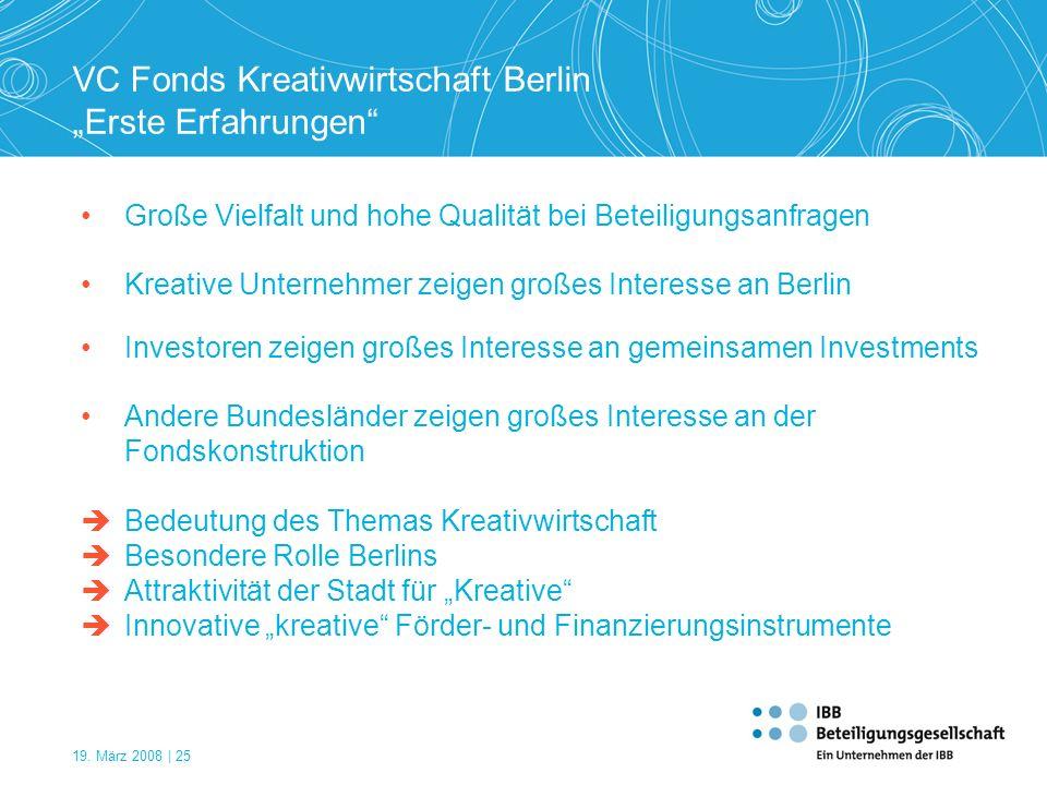 """VC Fonds Kreativwirtschaft Berlin """"Erste Erfahrungen"""