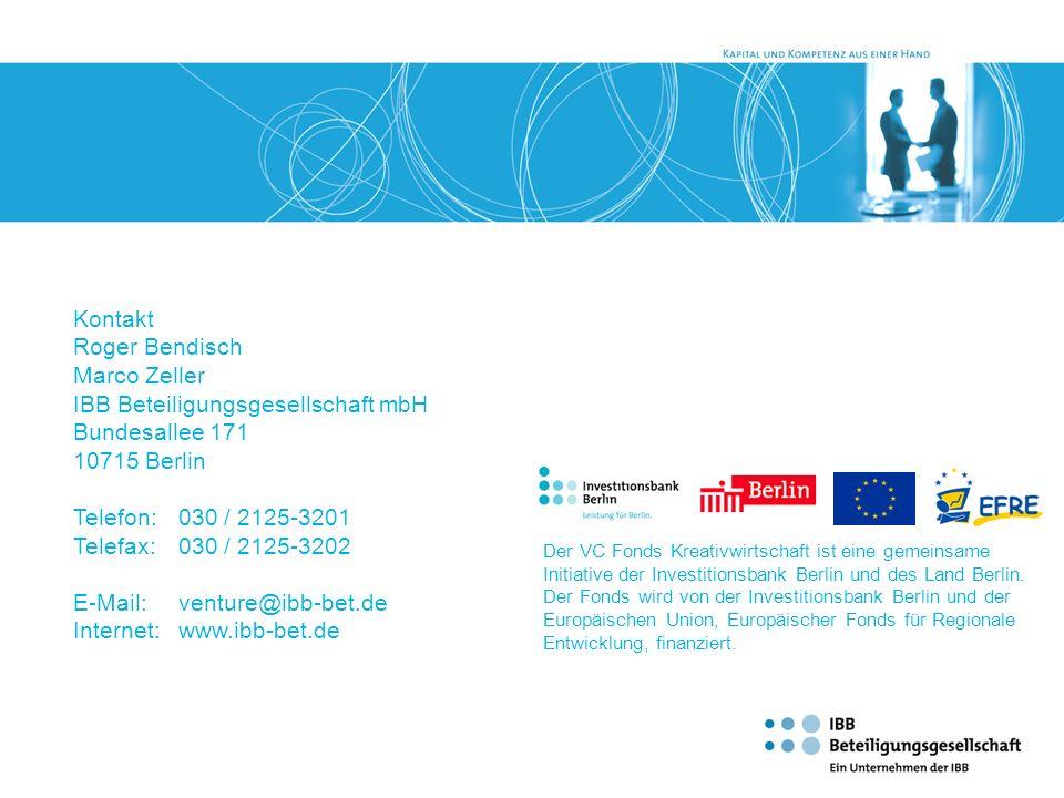 IBB Beteiligungsgesellschaft mbH Bundesallee 171 10715 Berlin