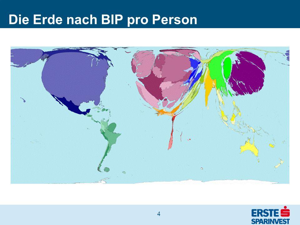 Die Erde nach BIP pro Person