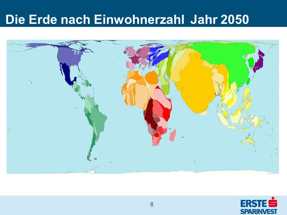 Die Erde nach Einwohnerzahl Jahr 2050
