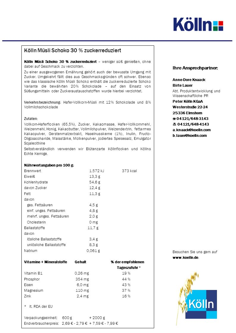 Kölln Müsli Schoko 30 % zuckerreduziert