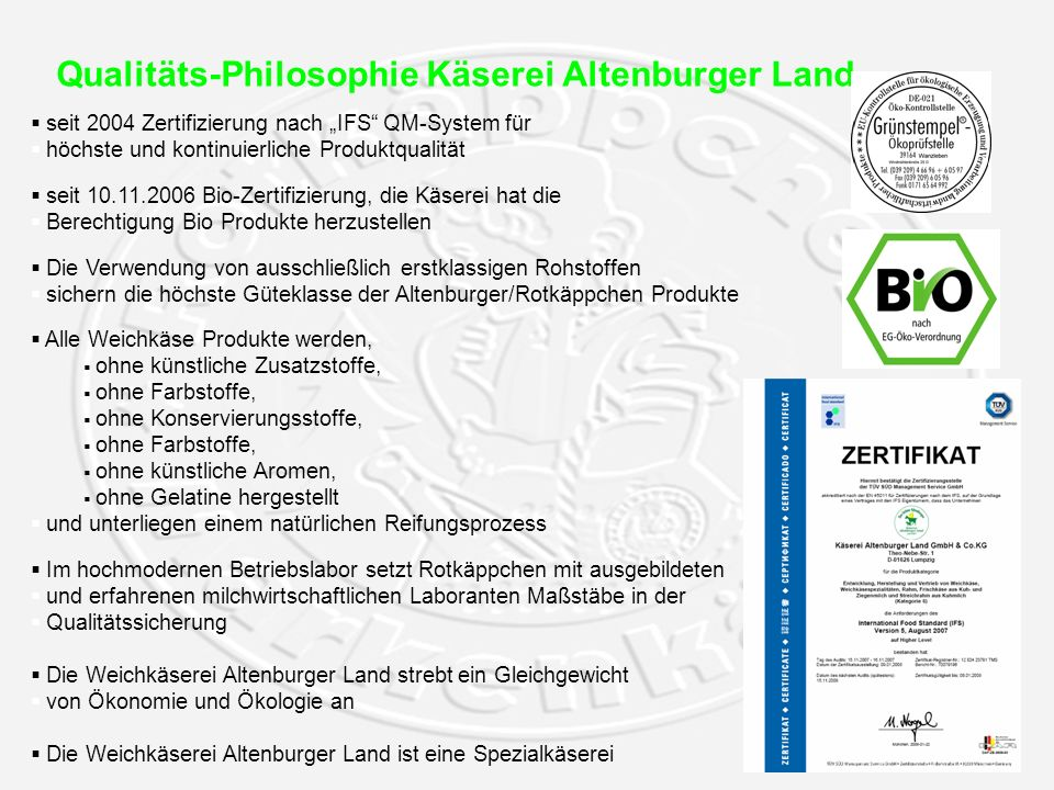 Qualitäts-Philosophie Käserei Altenburger Land