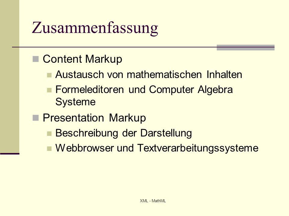 Zusammenfassung Content Markup Presentation Markup