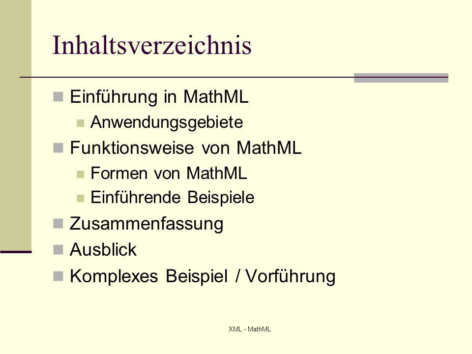 Inhaltsverzeichnis Einführung in MathML Funktionsweise von MathML
