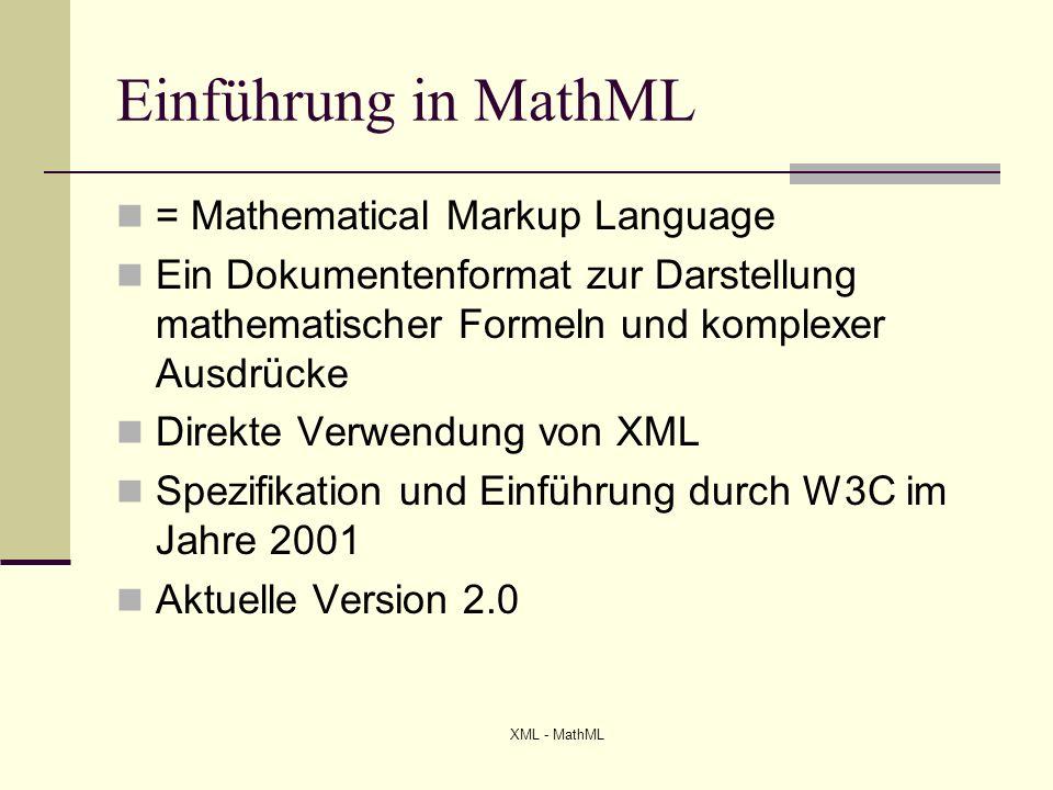 Einführung in MathML = Mathematical Markup Language