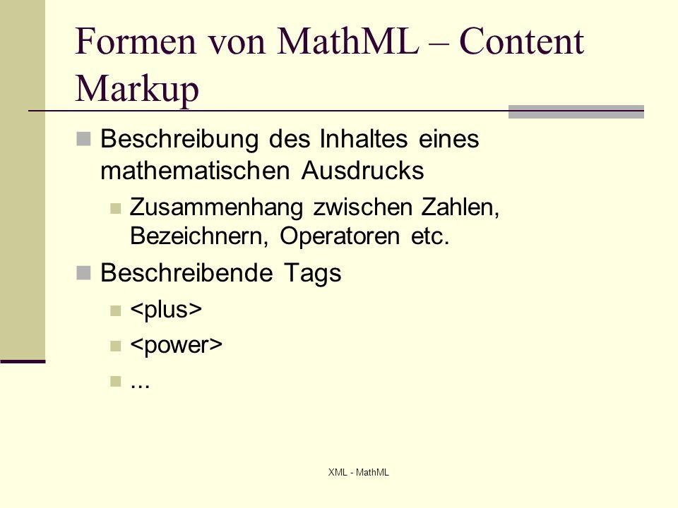 Formen von MathML – Content Markup