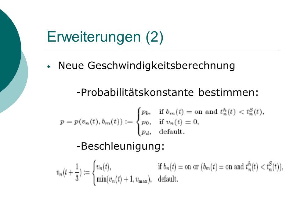 Erweiterungen (2) Neue Geschwindigkeitsberechnung