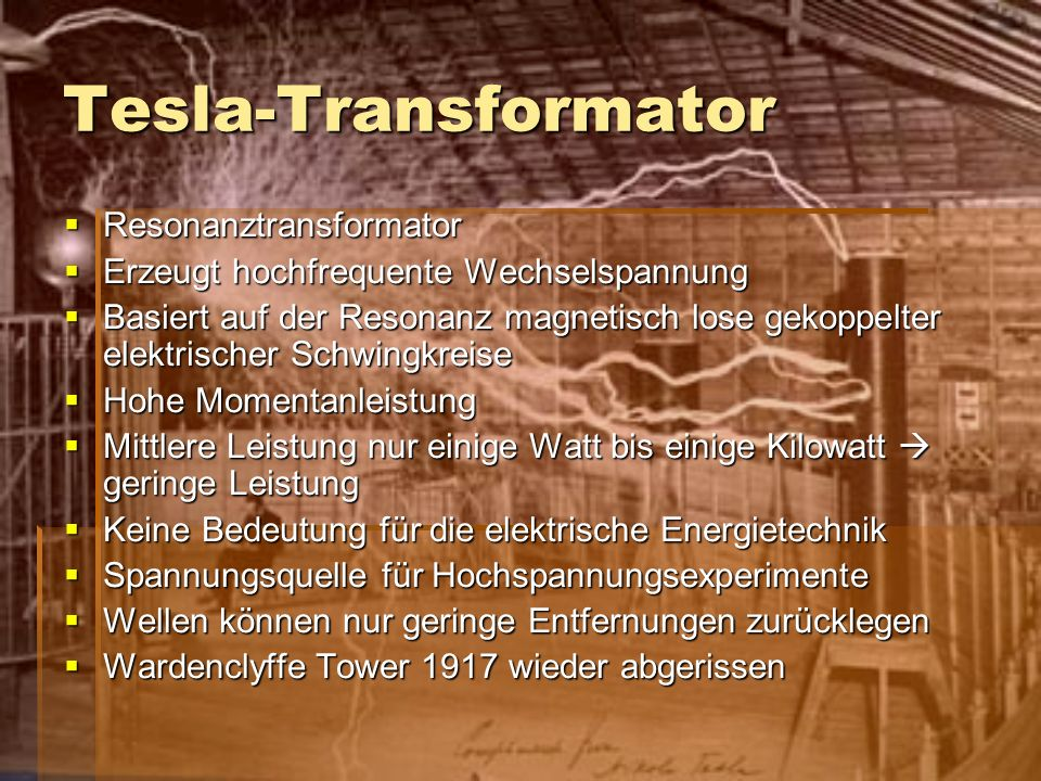 Tesla-Transformator Resonanztransformator