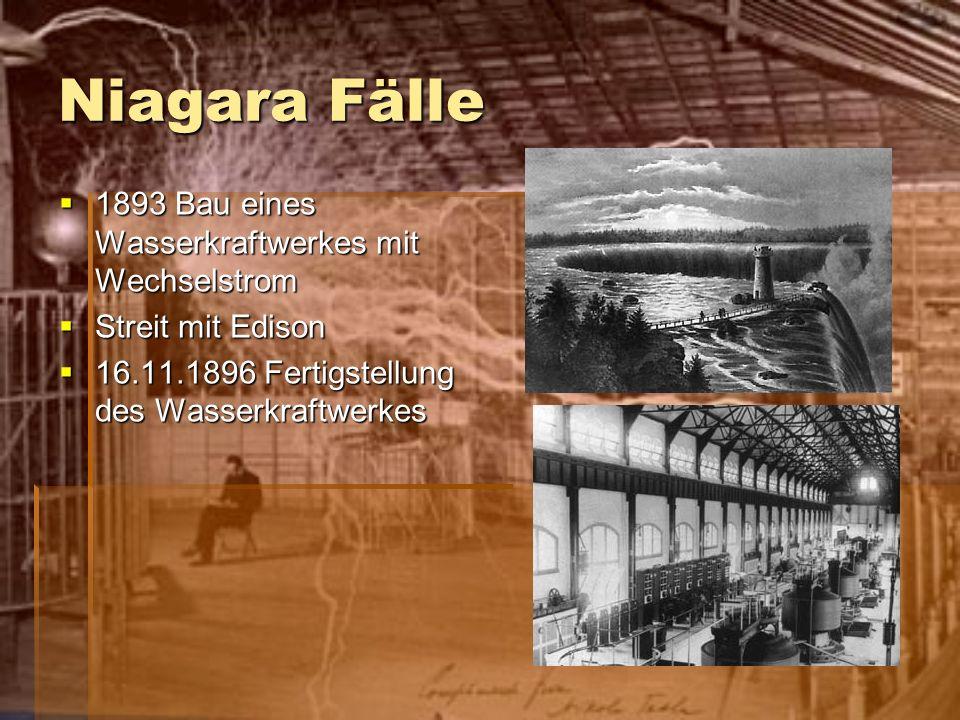 Niagara Fälle 1893 Bau eines Wasserkraftwerkes mit Wechselstrom