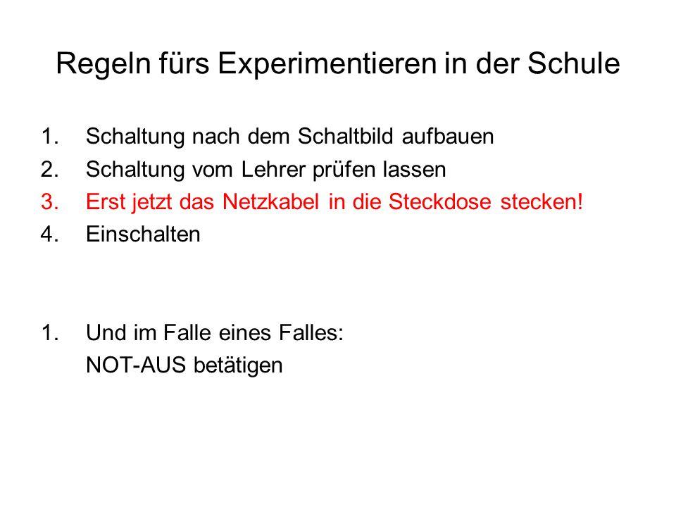 Regeln fürs Experimentieren in der Schule