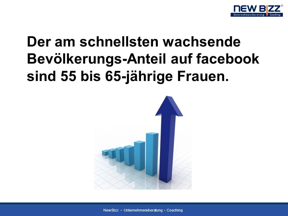 Der am schnellsten wachsende Bevölkerungs-Anteil auf facebook sind 55 bis 65-jährige Frauen.