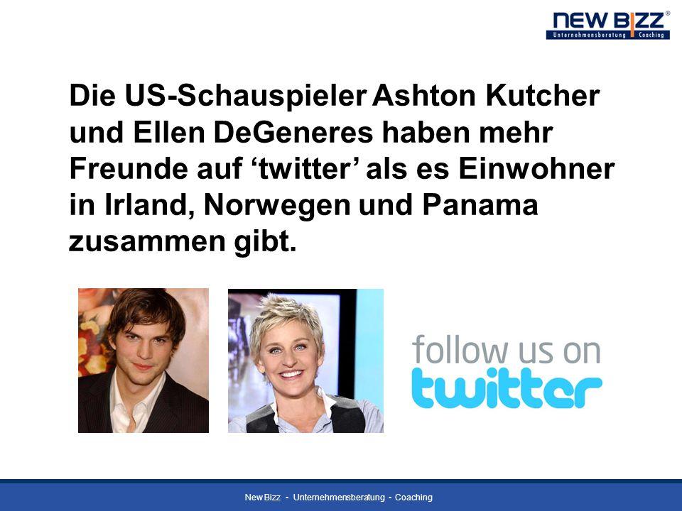 Die US-Schauspieler Ashton Kutcher und Ellen DeGeneres haben mehr Freunde auf 'twitter' als es Einwohner in Irland, Norwegen und Panama zusammen gibt.