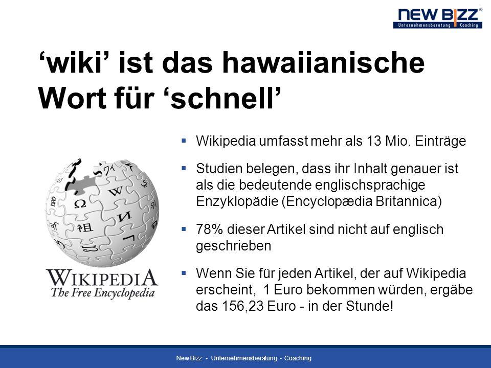 'wiki' ist das hawaiianische Wort für 'schnell'