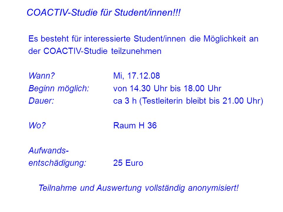 COACTIV-Studie für Student/innen!!!