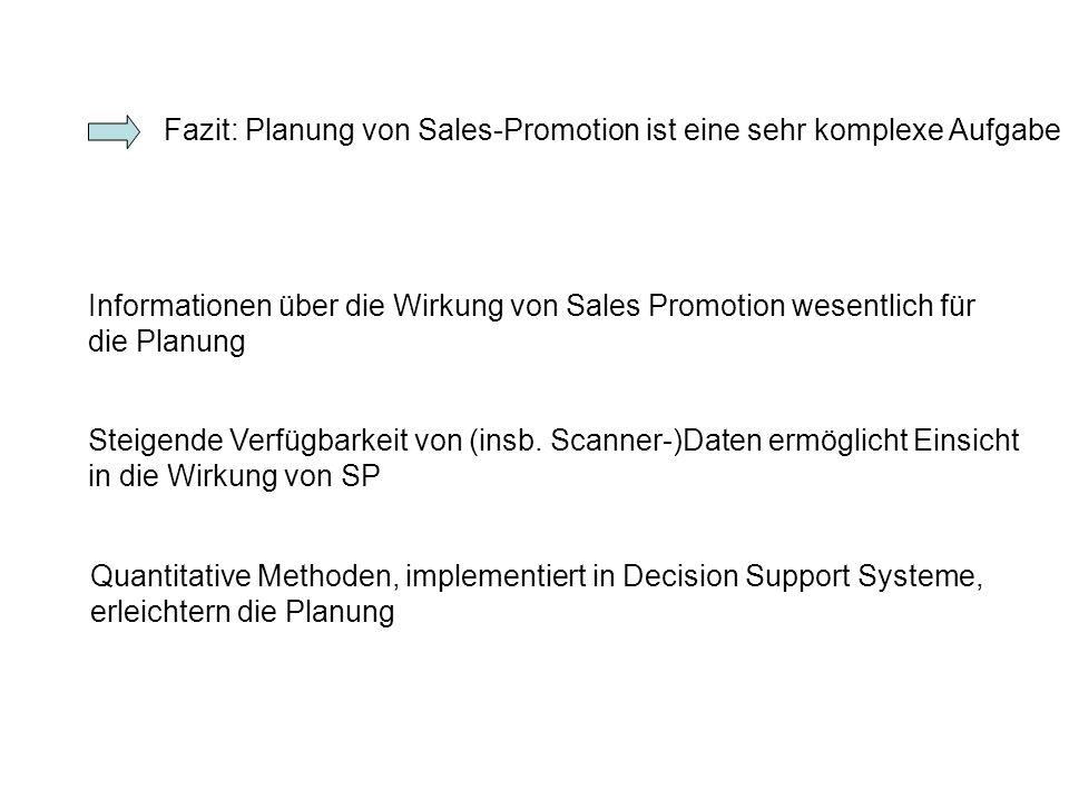 Fazit: Planung von Sales-Promotion ist eine sehr komplexe Aufgabe