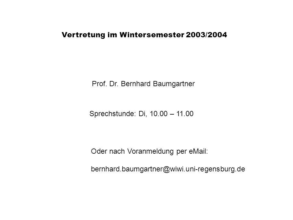 Vertretung im Wintersemester 2003/2004