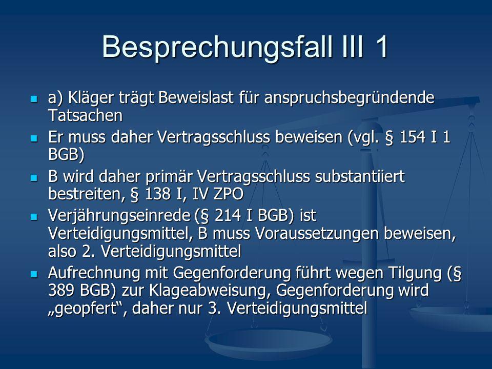 Besprechungsfall III 1 a) Kläger trägt Beweislast für anspruchsbegründende Tatsachen. Er muss daher Vertragsschluss beweisen (vgl. § 154 I 1 BGB)