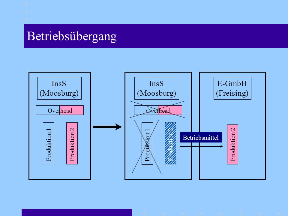 Betriebsübergang InsS (Moosburg) InsS (Moosburg) E-GmbH (Freising)