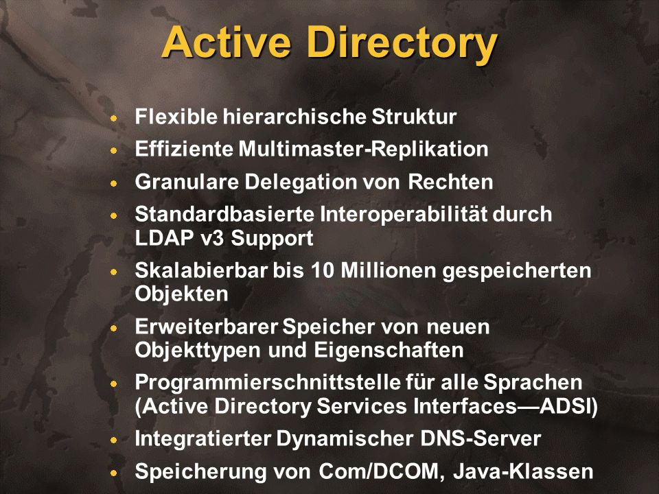 Active Directory Flexible hierarchische Struktur
