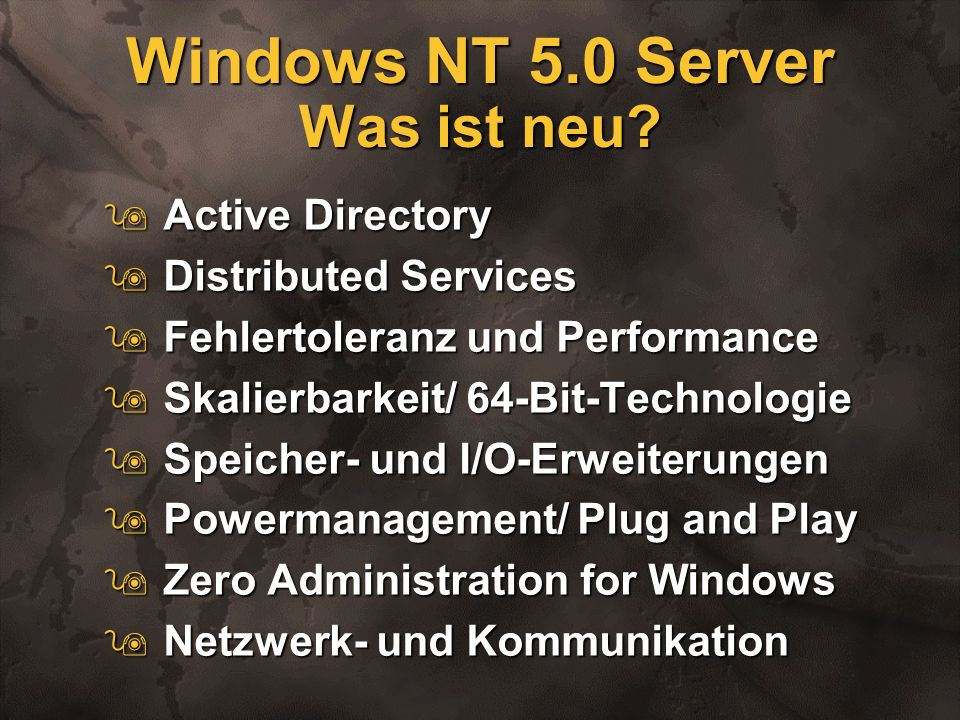 Windows NT 5.0 Server Was ist neu