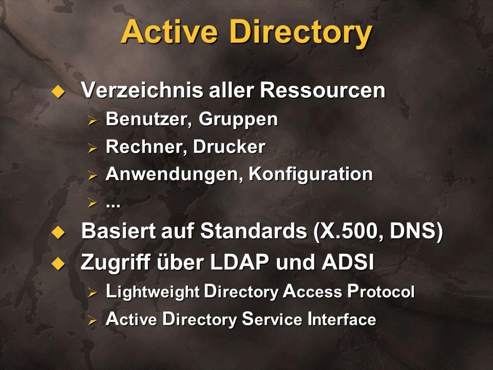 Active Directory Verzeichnis aller Ressourcen