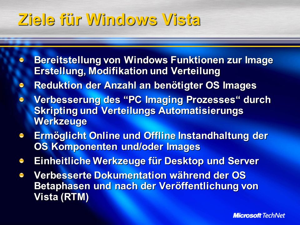 Ziele für Windows Vista