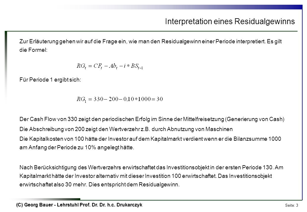 Interpretation eines Residualgewinns