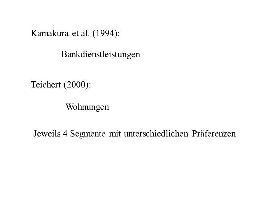 Kamakura et al.(1994):Bankdienstleistungen. Teichert (2000): Wohnungen.