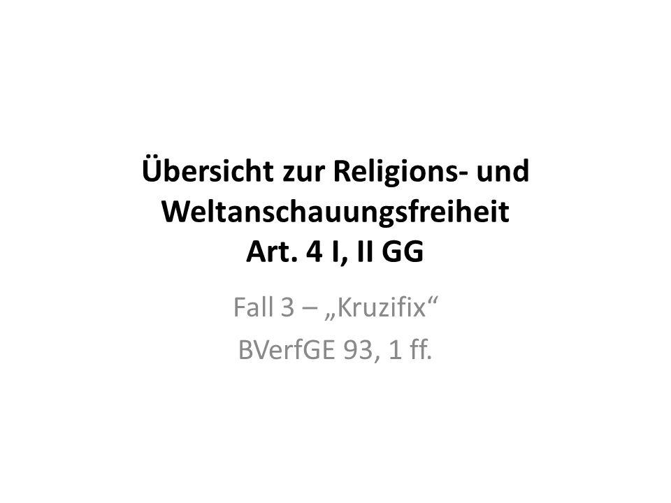 Übersicht zur Religions- und Weltanschauungsfreiheit Art. 4 I, II GG