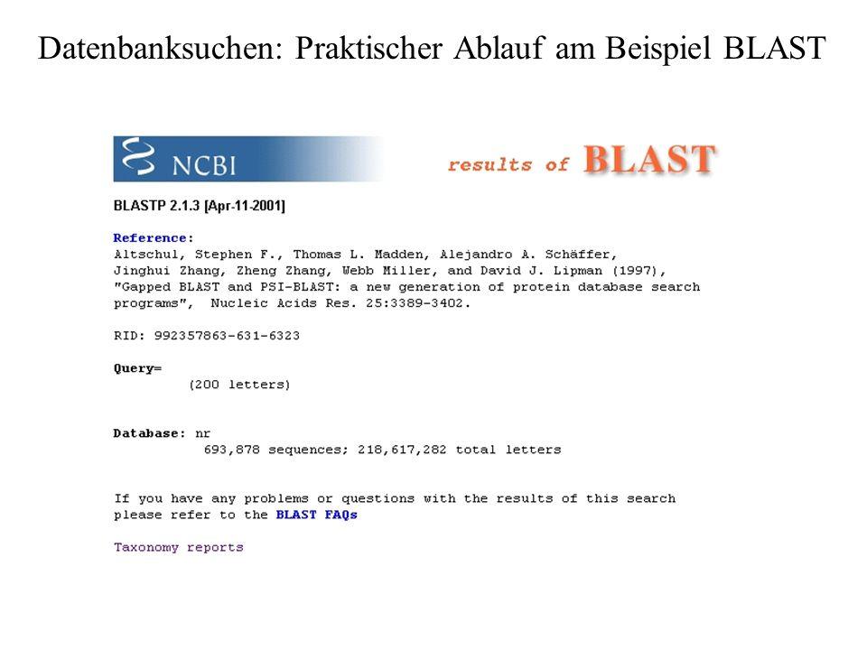 Datenbanksuchen: Praktischer Ablauf am Beispiel BLAST
