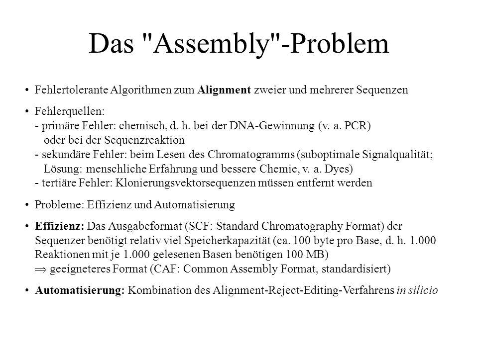 Das Assembly -ProblemFehlertolerante Algorithmen zum Alignment zweier und mehrerer Sequenzen.
