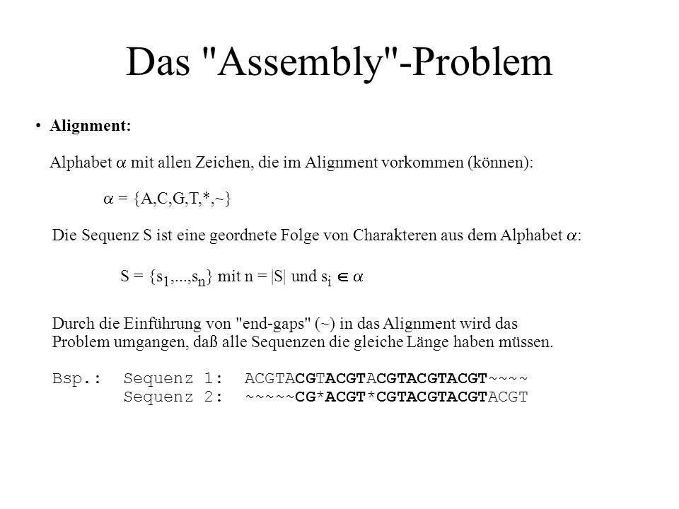 Das Assembly -ProblemAlignment: Alphabet  mit allen Zeichen, die im Alignment vorkommen (können):  = {A,C,G,T,*,~}