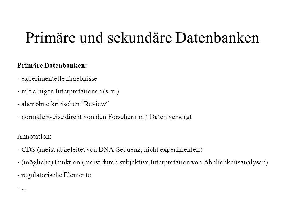 Primäre und sekundäre Datenbanken