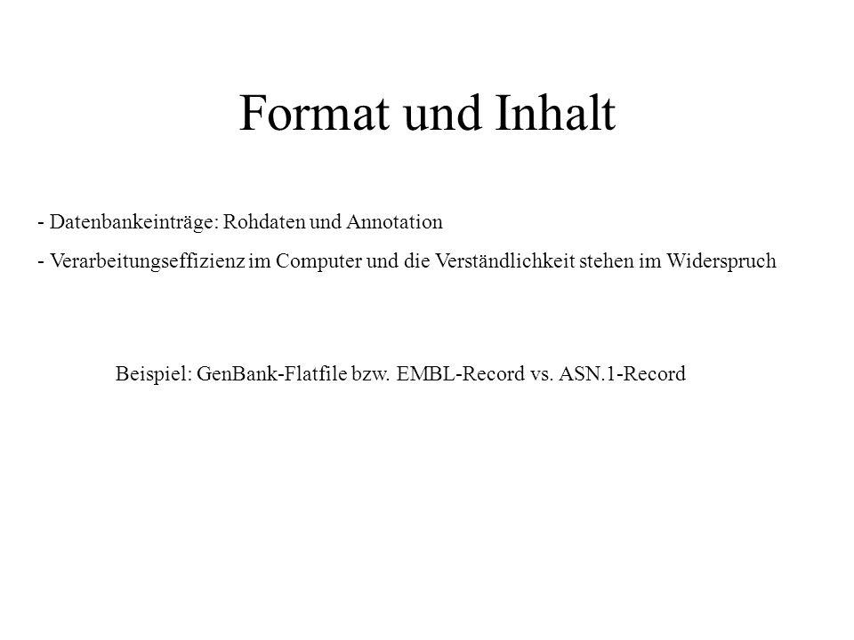 Format und Inhalt - Datenbankeinträge: Rohdaten und Annotation