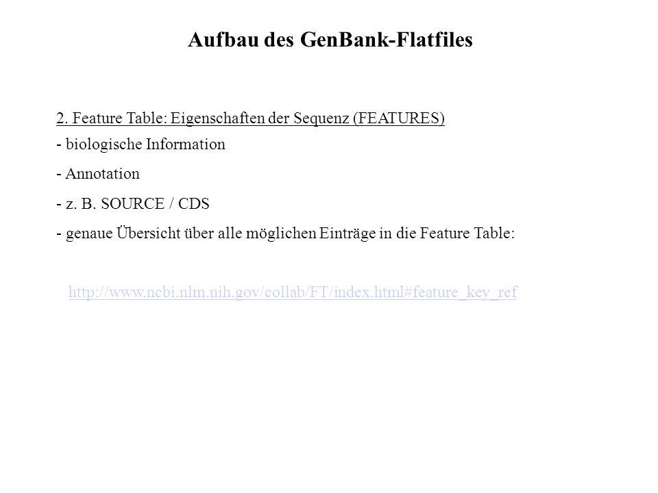 Aufbau des GenBank-Flatfiles