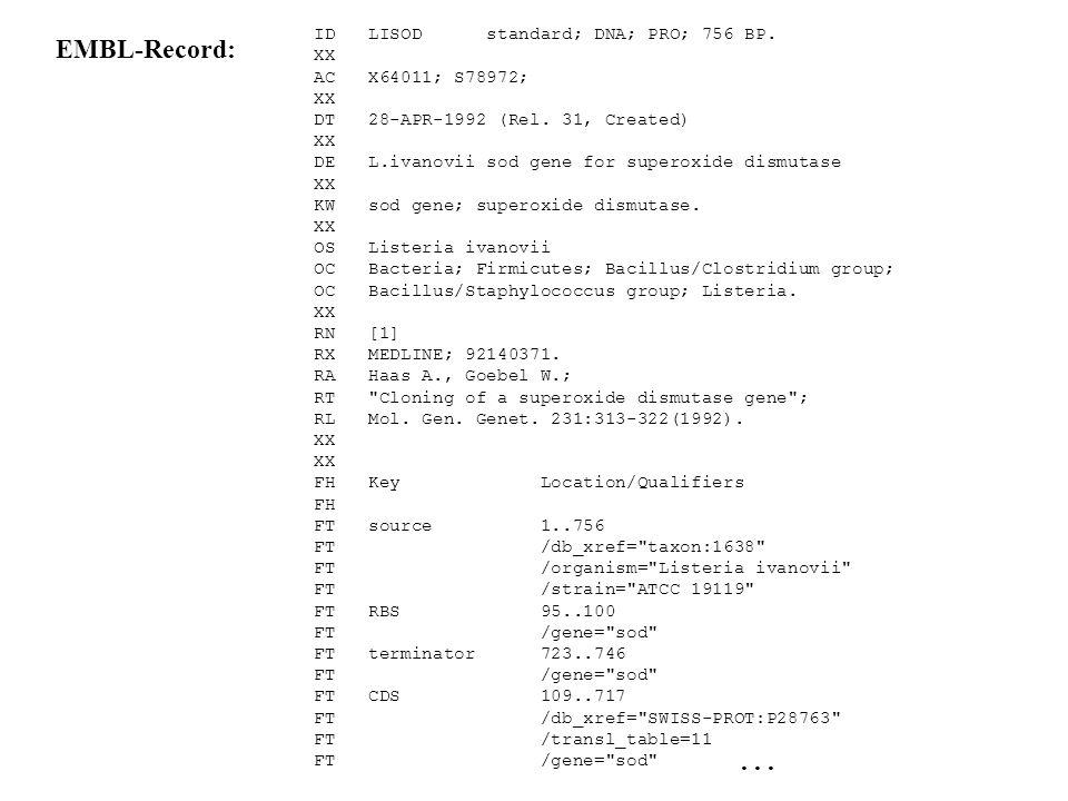 EMBL-Record: . . . ID LISOD standard; DNA; PRO; 756 BP. XX