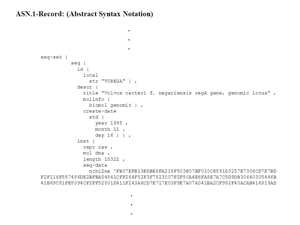 ASN.1-Record: (Abstract Syntax Notation)
