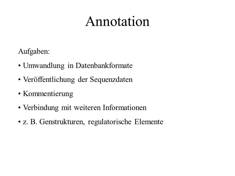 Annotation Aufgaben: Umwandlung in Datenbankformate