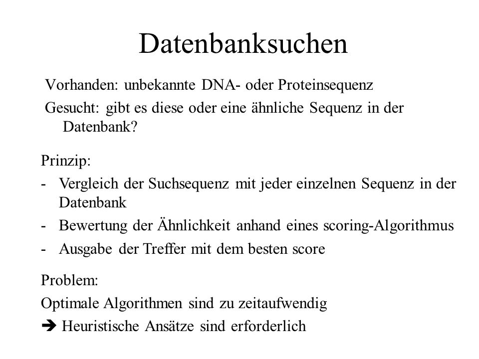 Datenbanksuchen Vorhanden: unbekannte DNA- oder Proteinsequenz