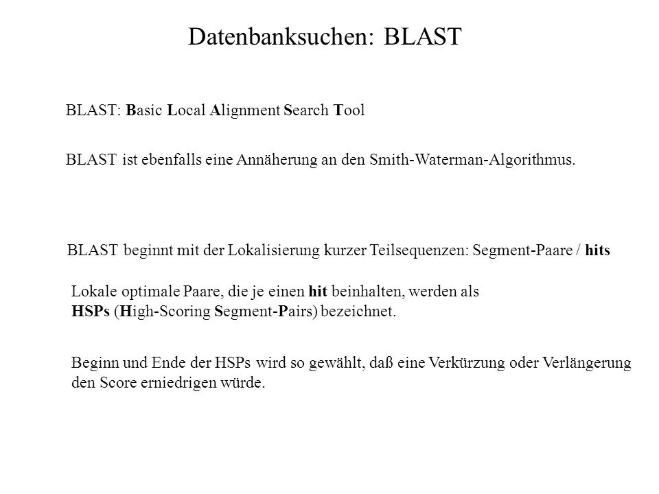 Datenbanksuchen: BLAST