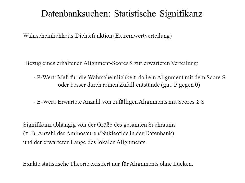 Datenbanksuchen: Statistische Signifikanz