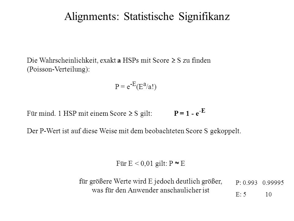 Alignments: Statistische Signifikanz