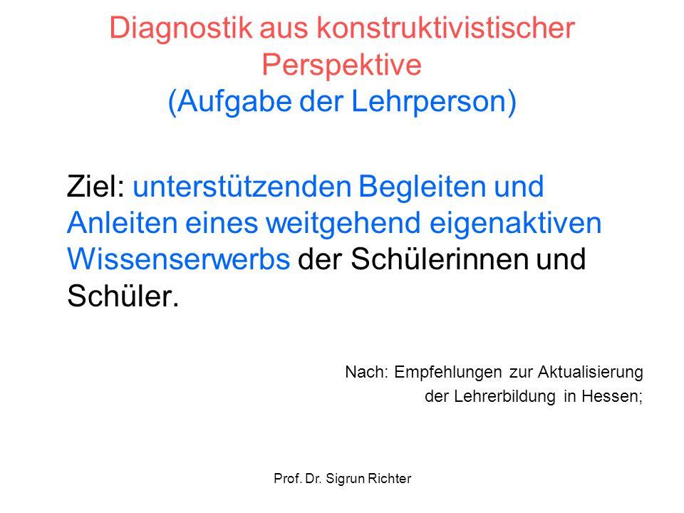 Diagnostik aus konstruktivistischer Perspektive (Aufgabe der Lehrperson)