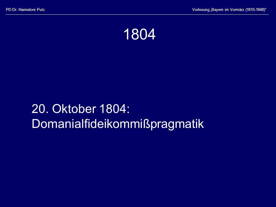 1804 20. Oktober 1804: Domanialfideikommißpragmatik