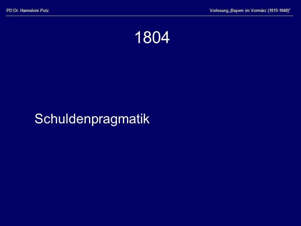 1804 Schuldenpragmatik PD Dr. Hannelore Putz