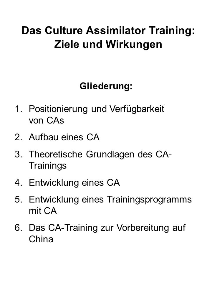 Das Culture Assimilator Training: