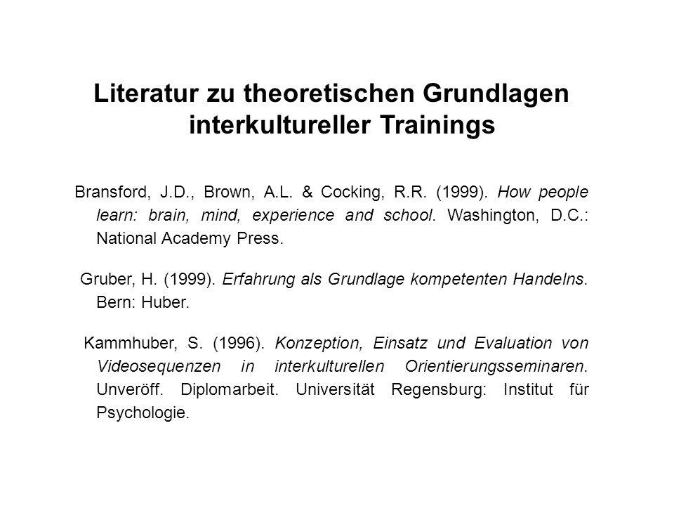 Literatur zu theoretischen Grundlagen interkultureller Trainings